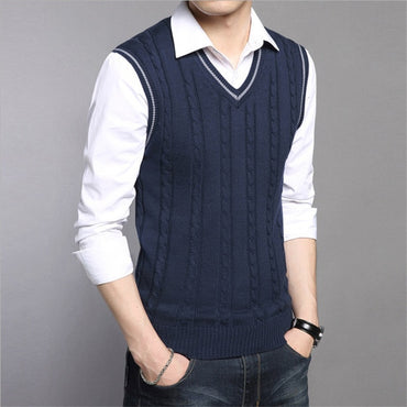 Warm Pullovers Sleeveless O Neck Knitted Vest  Elegant Casual Sweater