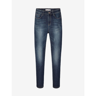 Moustache Effect Ripped Bleached Mid Waist Full Length Straight Stretch Jeans