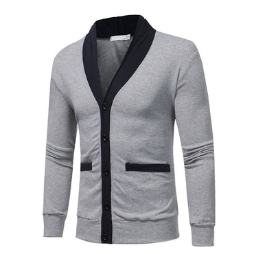 Casual Patchwork Slim Fit V-Neck Knitted Sweater