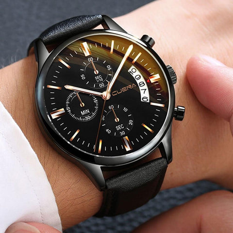 Fashion Sport Stainless Steel Case Leather  watch Quartz Business Wristwatch