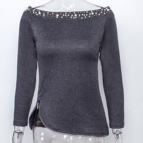 Slim Fit Long Sleeve Solid  New Design Zipper Blouse