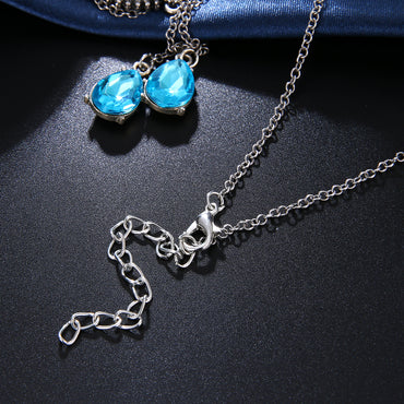 Boho Blue Crystal Long Pendant Necklaces  Collar Vintage Choker