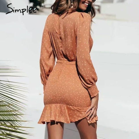 Sexy v-neck pleated Long sleeve mini dress