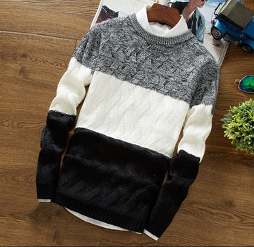 Casual Slim Fit Clothing Long Sleeve Knitted Pullovers Thick Sweater