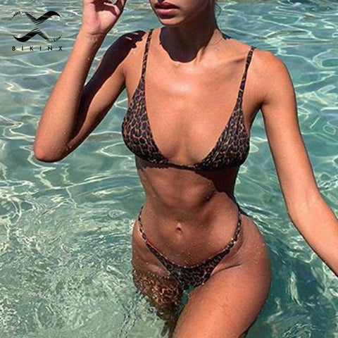 Triangle string sexy swimwear women micro bathing suit Push up leopard print bikini