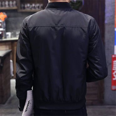 Casual Solid Fashion Slim Zipper Bomber Jackets & Coat