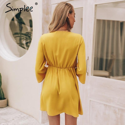Simplee Vintage long sleeve chiffon  dress