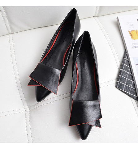 Leather pointed toe Flat Shoes