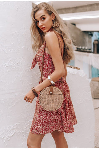 mini dress Spaghetti strap lace up boho