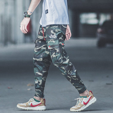 Camouflage Casual Jogger Pants Multi Pockets Punk Style Hip Hop Jeans