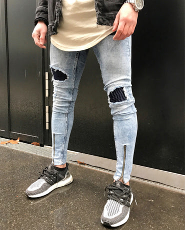 Stretch Destroyed Hole Ripped Design Fashion Ankle Zipper  Skinny Jeans