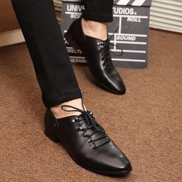 New Men Leather Shoes Fashion  Men Loafers Comfortable Pointed Toe Business Shoes