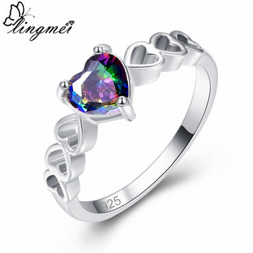 Solitaire Style Statement Fashion Jewelry Love Heart Multicolor & Green Zircon Silver 925 Ring