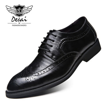 Brand Luxury Genuine Leather Bullock Carved Shoes Men  Large Size Shoes Lace Up Pointed Toe Brogue Shoes
