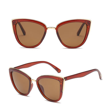 Fashion Cateye Sunglasses Women Vintage Metal Eyewear