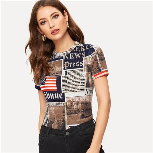 Multicolor Highstreet Newspaper Letter Print Form Fitting Short Sleeve Tee  Spring Casual Women Modern Lady Fashion Tshirt Top