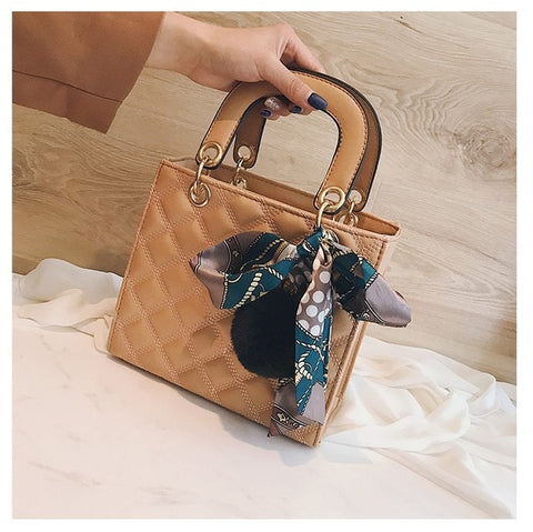 Ribbon Hair ball Shoulder  PU Leather handbags