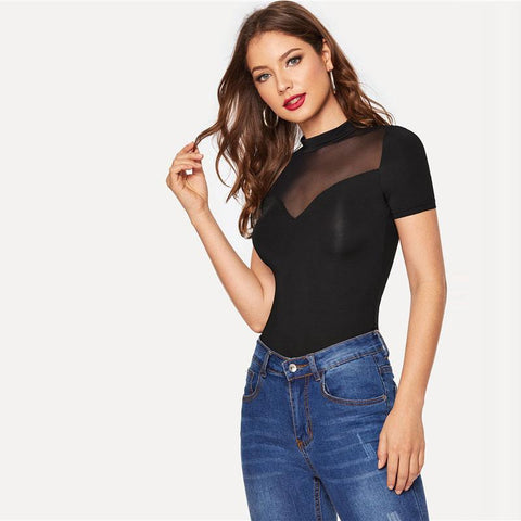 Black Mock Neck Sweetheart Mesh Insert Slim Fitted Sexy Top Women Summer Solid High Street Short Sleeve Fashion Tshirt Tops