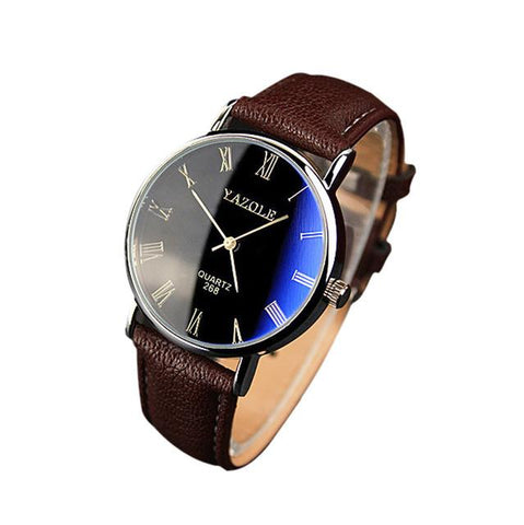 Fashion Leather Band Analog Quartz Round Wrist Business men watches