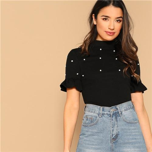 Black Mock Neck Flounce Short Sleeve Pearls Beaded Fitted Top Elegant T Shirt Spring Women Knitted Workwear Fashion Tshirt Tops