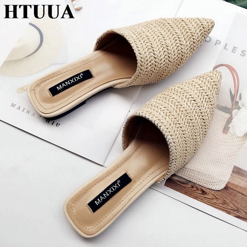 Slippers Fashion Pointed Toe Weave Mules Flat Slides Shoes
