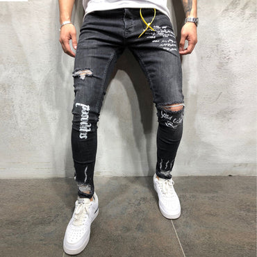 New Black Elastic Foot Holes Print Letter Fashion Jeans