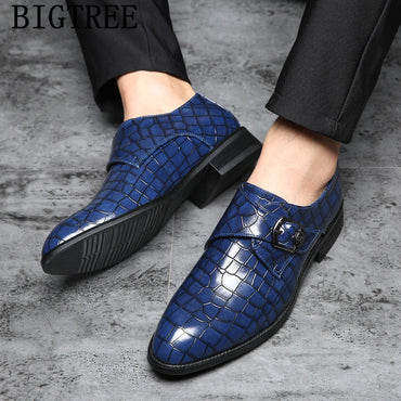 monk strap italian fashion men wedding shoes crocodile shoes