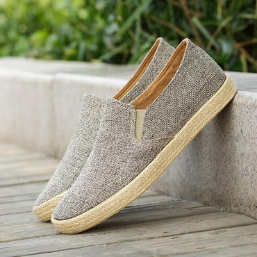 Canvas Shoes Breathable Men's Loafers Slip on Solid Hemp Shoes