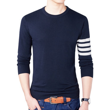 Brand Casual Sweater Fashion O-Neck Striped Slim Fit Knitting Men Sweaters