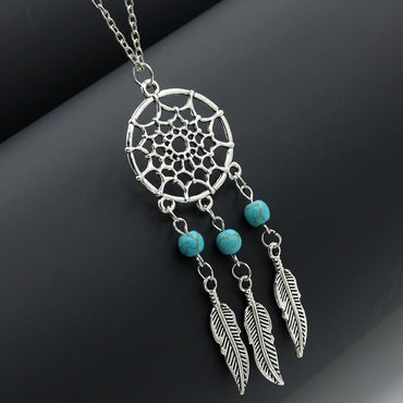Boho Choker Necklaces Retro Dreamcatcher Feather Ethnic Jewelry Pendant Necklace