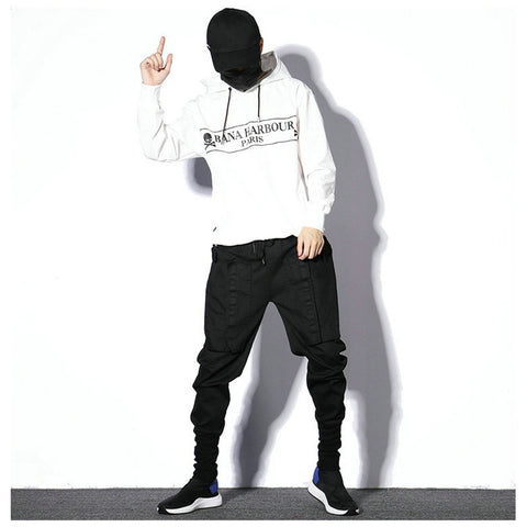 Hip Hop Black Sweatpants Casual Slim Mens Harem Pants