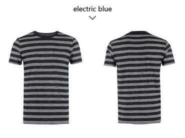 Cotton-blend round collar slim stripe leisure short- sleeved T-shirt