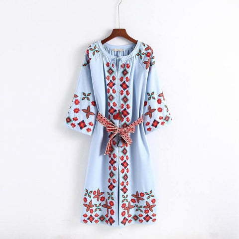 Bohemian Single-breasted Buttons Flower Embroidery Dress