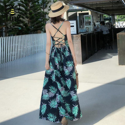Boho Tropic Printed Chiffon Maxi Dress
