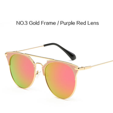 Mirror Rose Gold Sunglasses Women Round Luxury Brand