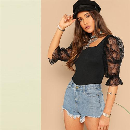 Going Out Highstreet Black Lace Puff Sleeve Rib-Knit Tee Spring Glamorous Women Square Neck Backless Fashion Tshirt Tops