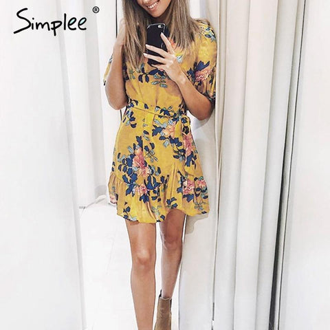 Sash floral print ruffle mini dress