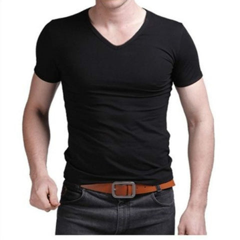 Fashion Summer Men Cotton T shirt casual short sleeve V-neck T-shirts