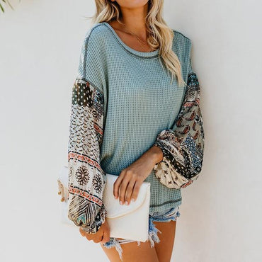 Long Sleeve Bohemian Knit Patchwork Blouse