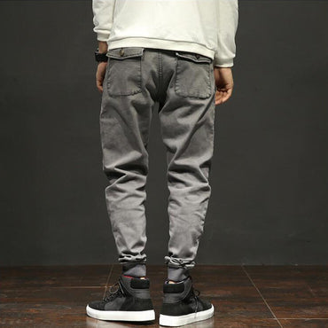 Gray Color Multi Pockets Cargo Jeans