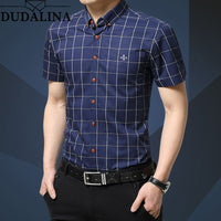 Cotton Social Shirts Plaid Checked Short Sleeve shirt