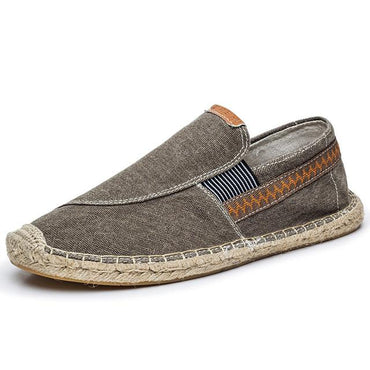 vintage men's casual canvas loafers flat hemp bottom Espadrilles driving soft shoes