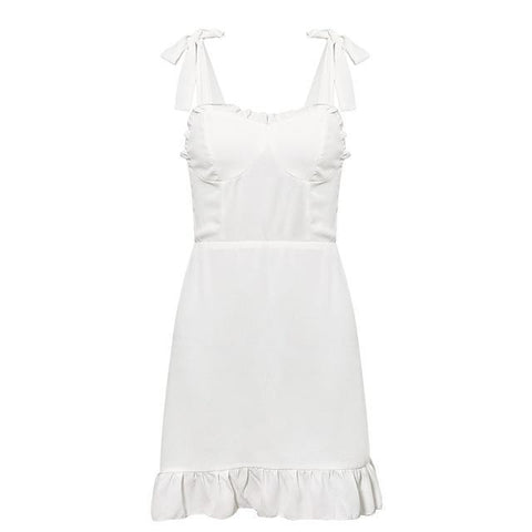 Ruffles Strap Vintage Sexy Dress Party Chiffon Summer Dresses