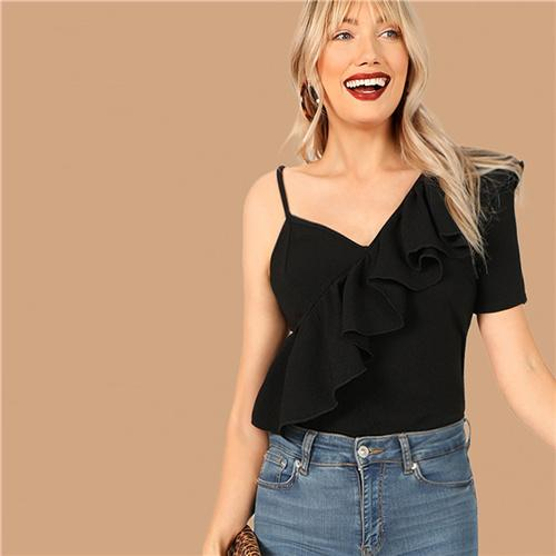 Black Asymmetrical Neck Ruffle Trim Top Slim Fit T Shirt Women Summer High Street Solid Party Club T-shirt Tops