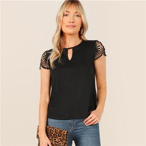 Black Keyhole Neck Guipure Lace Cut Out Short Sleeve Top T Shirt Women Summer Round Neck Solid Office Lady Casual T-shirts