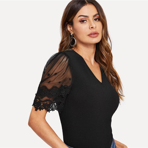 Highstreet Black Contrast Mesh Contrast Lace Sleeve V Neck Tee Spring Elegant Women Short Sleeve Fashion Tshirt Tops