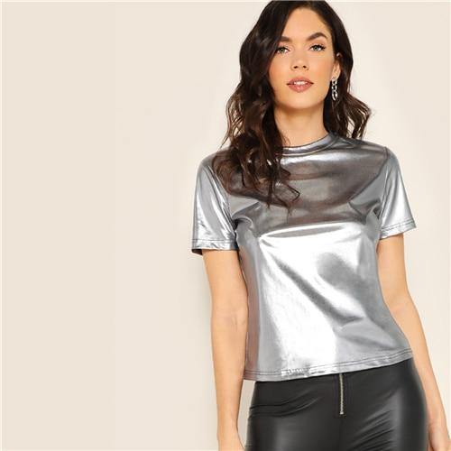 Silver Short Sleeve Metallic Round Neck Top Summer T Shirt Women Solid Club Casual High Street Glamorous T-shirt Tops