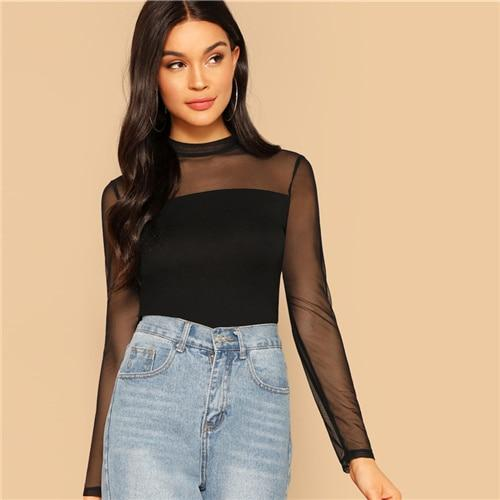 Glamorous Black Mock Neck Mesh Shoulder Slim Fit Top Tee 9 Summer Women Minimalist Highstreet Stand Collar Fashion Tshirt Tops