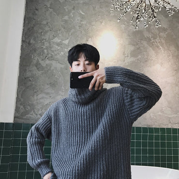 Oversized Turtleneck Sweater Women Men Casual Winter Warm Sweater