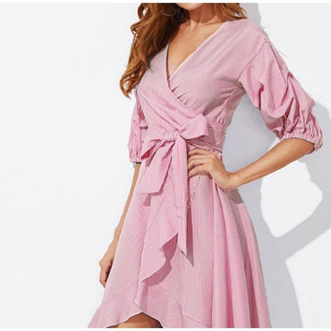 Midi Dress Half Sleeve Sashes Wrap Office Lady Elegant Woman Dresses